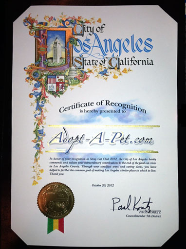 City of Los Angeles Certificate of Recognition to Adopt-a-Pet.com