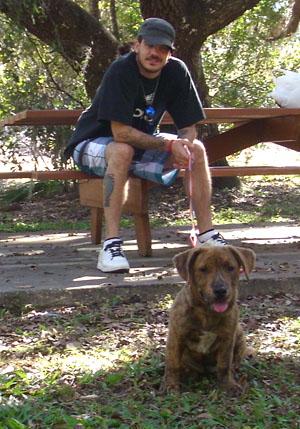 brindle puppy in park