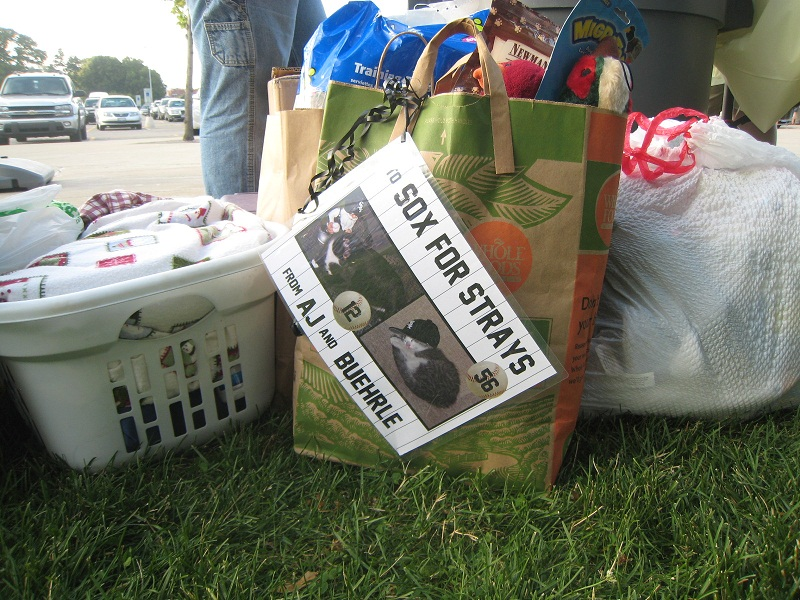 So many fans brought items from Hope Rescue's wish list.  The bags and boxes piled up.