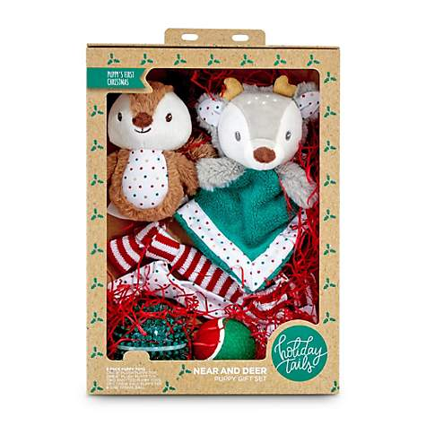 Holiday Tails Near and Reindeer Puppy Toy Gift Set