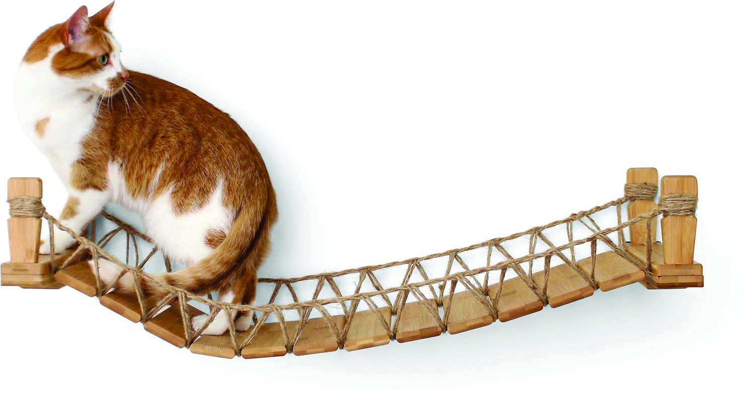 CatastrophiCreations Wall Mounted Wooden Cat Bridge_Natural