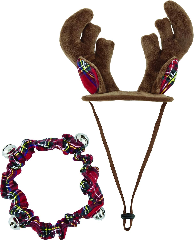 Frisco Holiday Antler Headband & Bell Collar Dog & Cat Costume