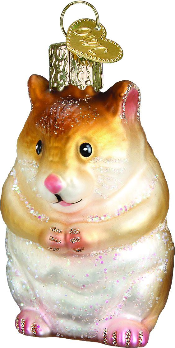 Old World Christmas Hamster Glass Tree Ornament