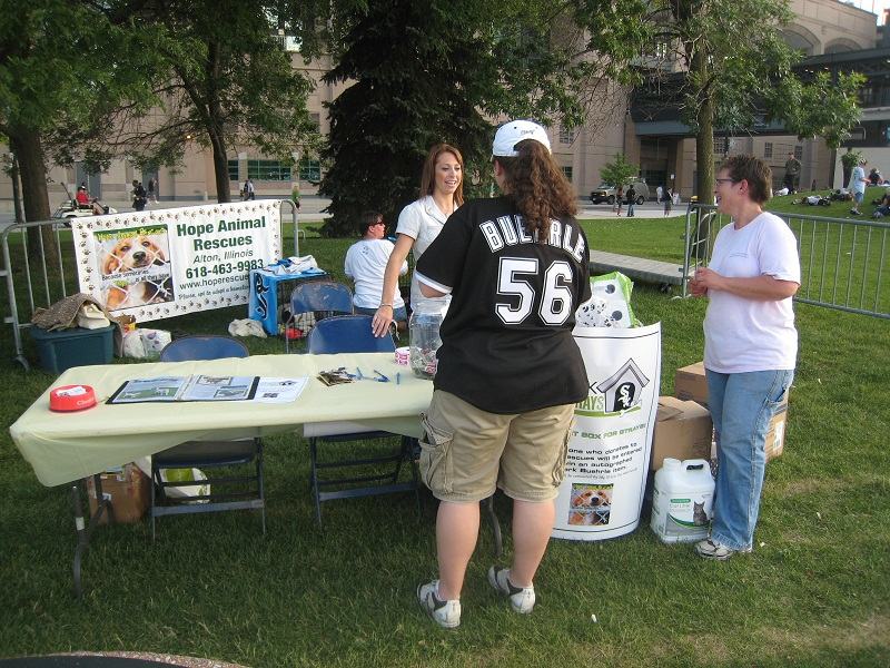 Fans who donated cash or pet-care items were entered to win an autographed Mark Buehrle item.  Some were surprised to find out they were talking to Jamie Buehrle herself!